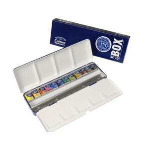 CAJA ACUARELAS COTMAN 12MG  BLUE BOX METAL